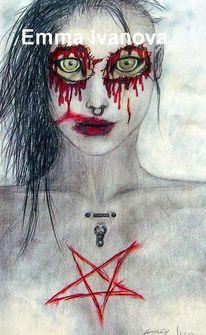 Surreal, Mädchen, Augen, Pentagramm