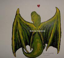 Fantasie, Verlieben, Drache, Grün