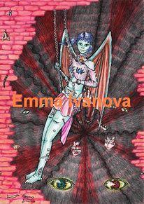 Anime, Flügel, Dämon, Blau