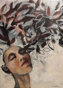 Pflanzen, Kopf, Blätter, Malerei