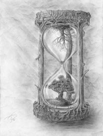 Baum, Zeit, Sanduhr, Zeichnungen