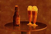 Plakatkunst, Glas, Bierflasche, Jüngling