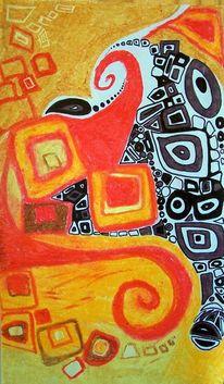 Lebendig, Afrikanische muster, Warme wachsstrudel, Malerei