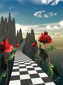 Weg, Rose, Surreal, 3d