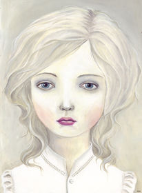 Mädchen, Studie, Geisterhaft, Weiß