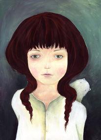 Kinder, Mädchen, Tiere, Illustration