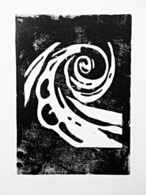 Linolschnitt, Rose, Abstrakt, Druckgrafik
