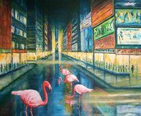 Flamingo, Malerei, Straße, Regen