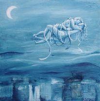 Nacht mondschein, Liebespaar, Acrylmalerei, Akt