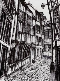 Gasse, Zeichnung, Rouen, Zeichnungen