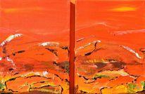 Europa, Acrylmalerei, Österreich, Rot gelb