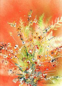 Rispen, Rot, Blüte, Acrylmalerei