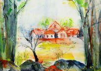 Malerei, Wiese, Haus, Feld