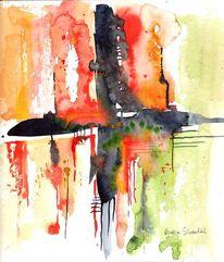 Kreuz, Orange, Malerei, Indigo