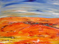Orange, Landschaft, Acrylmalerei, Blau