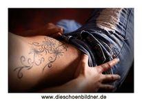 Tattoo, Körper, Frau, Akt