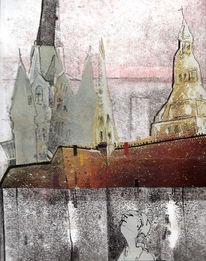Stadtansicht, Fantasie, Collage, Mischtechnik
