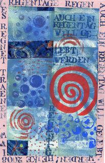 Linolschnitt, Collage, Schrift, Abstrakt