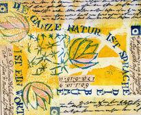 Schrift, Abstrakt, Linolschnitt, Collage
