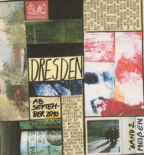 Reisen buch collage, Eindrücke abstrakt radfahren, Dresden, Mischtechnik