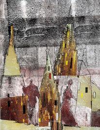 Stadtansicht, Collage, Fantasie, Mischtechnik