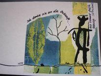 Figur, Sprüche, Schrift, Garten