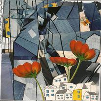 Glas, Vorstadtidylle, London, Collage