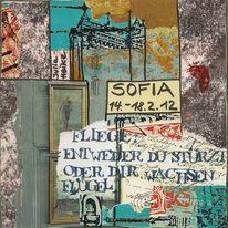 Banken und kirchen, Collage, Bulgarien, Hochhaus