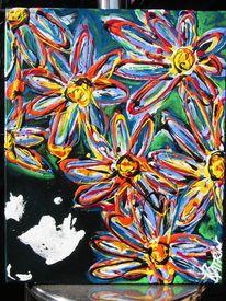 Blumen, Frau, Blick nach oben, Kopfabdruck