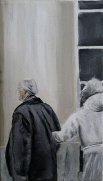 Alter mann, Frau, Paar, Malerei