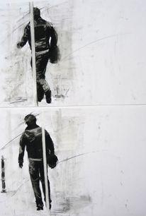 Zeichnungen, Portrait, Mann, Tasche