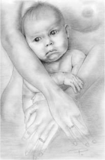 Geborgenheit, Baby, Handzeichnung, Malerei