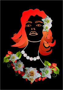 Illustration, Frau, Blumen, Mischtechnik