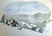 Winter, Aquarellmalerei, Lachtal, Bauernhof