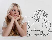 Engel, Figural, Digitale zeichnung, Mädchen