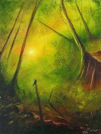 Malerei, Vogel, Wald