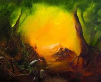 Baum, Ölmalerei, Urwald, Berge