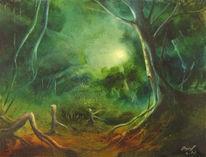 Stille, Wald, Mondlichtung, Nacht