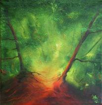 Malerei, Waldweg, Skizze