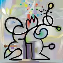 Figur, 2012, Pastellmalerei, Abstrakt