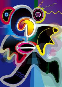 Gesicht, Blick, Vektorkunst, Farben