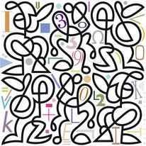 Zahlen, Muster, Buchstaben, Farben
