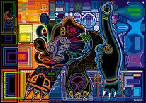 Katze, Nacht, Symbol, Farben