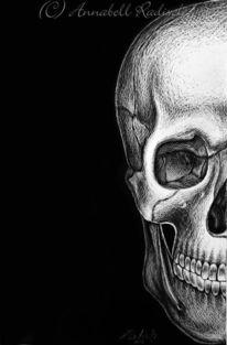 Düster, Anatomie scraperboard, Schädel, Zeichnungen
