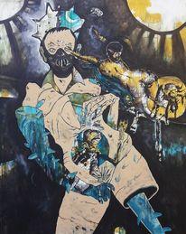 Maske, Handschuhe, Schielen, Malerei