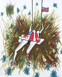 Schaukel, Stern, Flagge, Malerei