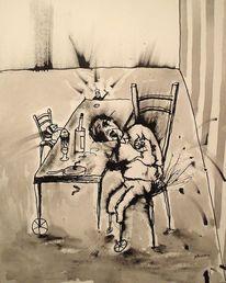Malerei, Menschen, Katze, Mann