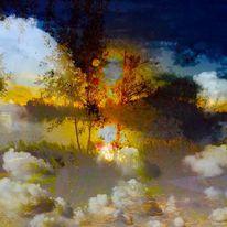 Sonne, Baum, Wolken, Wasser