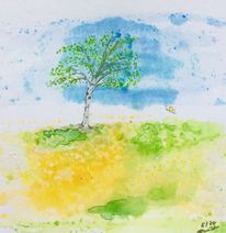 Birken, Himmel, Frühling, Blau
