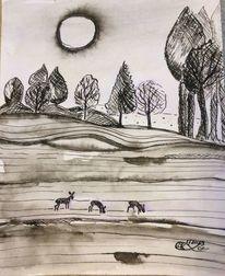 Feld, Baum, Sonne, Zeichnungen